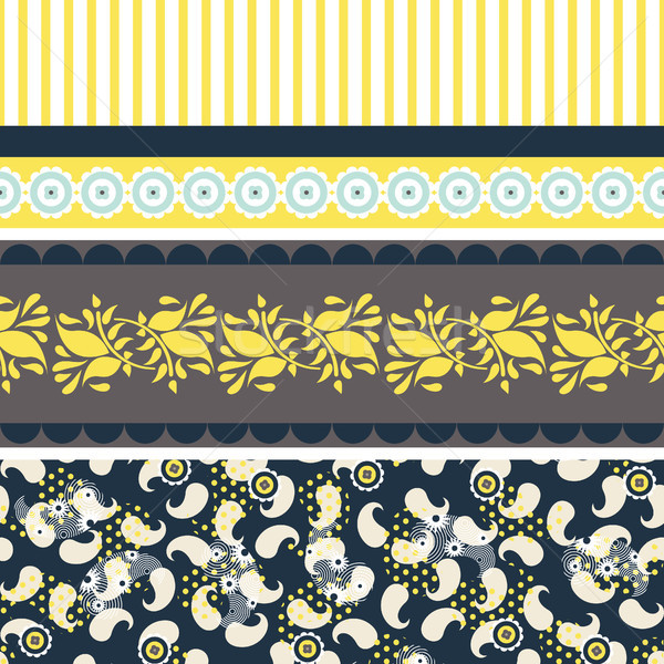 Folk floral blue and yellow seamless vector pattern. Stock photo © yopixart