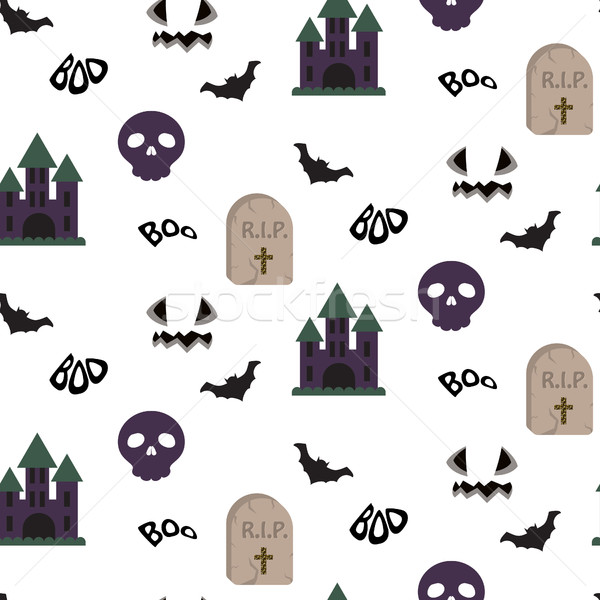 Cartoon spooky halloween vector seamless pattern. Stock photo © yopixart