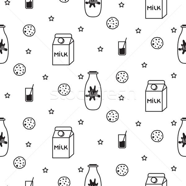 Milk and biscuit scandinavian seamless vector pattern. Stock photo © yopixart