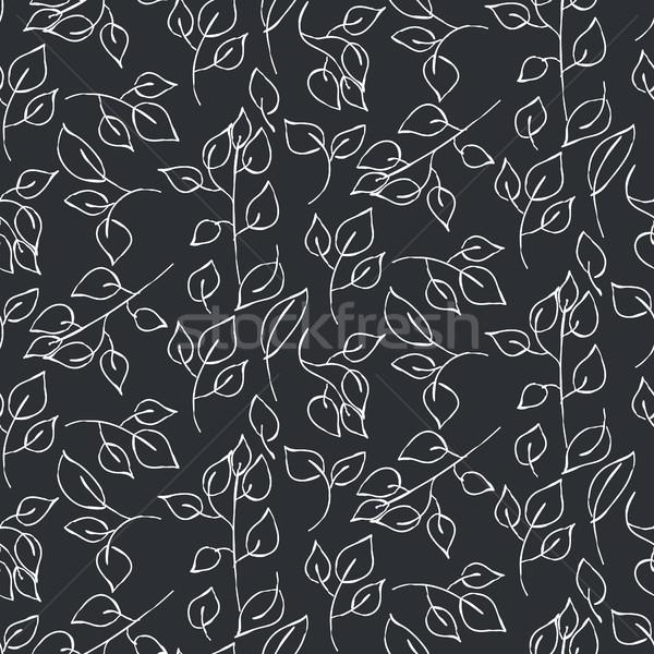 Bladeren naadloos vector patroon donkere Stockfoto © yopixart