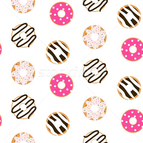 ドーナツ シームレス ベクトル パターン 甘い ベーカリー ストックフォト © yopixart