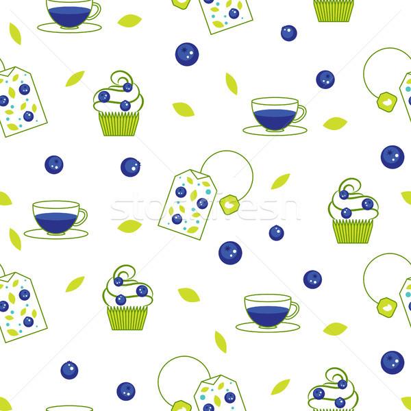 Stock photo: Vector tea bag blueberry seamless pattern.