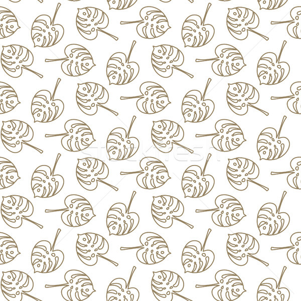 Monstera tropic plant outline leaves seamless pattern. Stock photo © yopixart