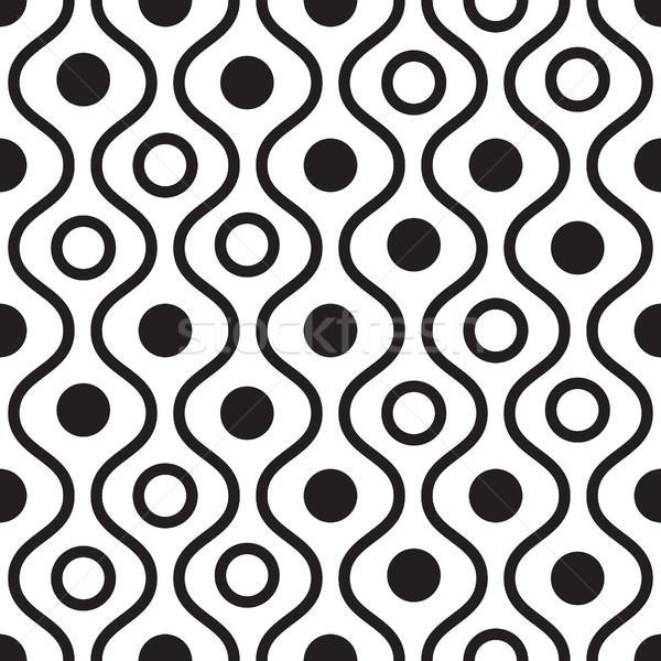 Geométrico preto e branco ondulado padrão vetor Foto stock © yopixart