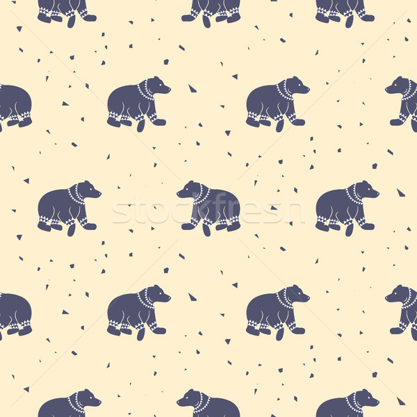 Bear purple and pastel pink tribal seamless vector patterns. Stock photo © yopixart