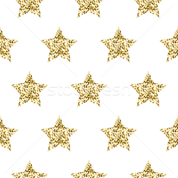 Gold foil shimmer glitter star seamless pattern. Stock photo © yopixart