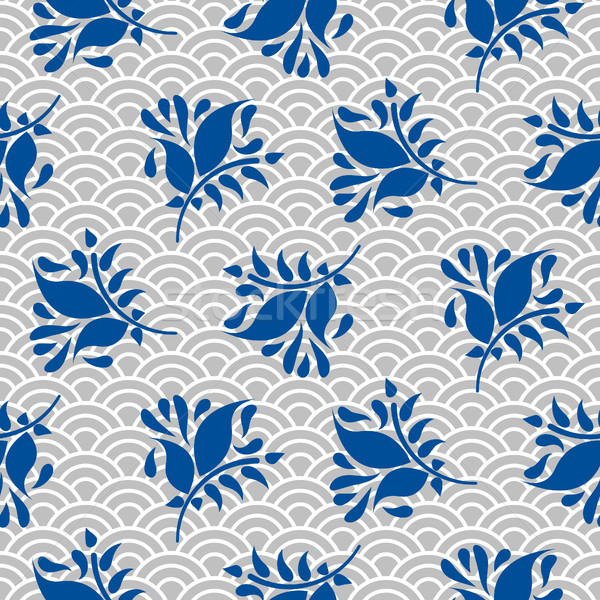 Japanese pattern in blue and gray colors. Stock photo © yopixart