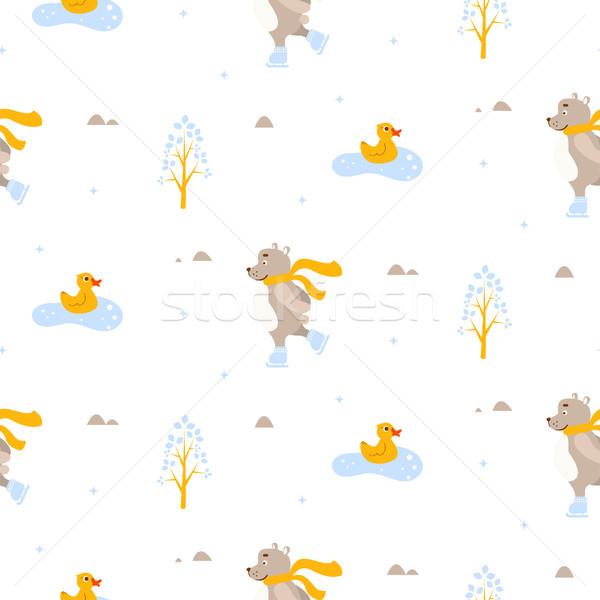 Cute bear and duck ice-skating on pond seamless vector pattern. Stock photo © yopixart