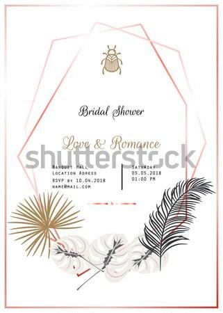 Wedding invitation vector template design. Stock photo © yopixart
