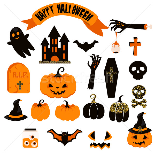 Halloween vector clipart set. Spooky pumpkin icons. Stock photo © yopixart