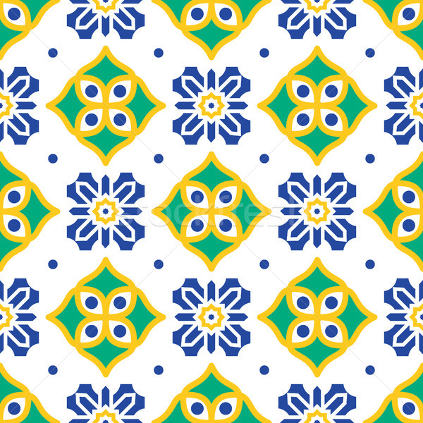 Blue and green mediterranean seamless tile pattern. Stock photo © yopixart