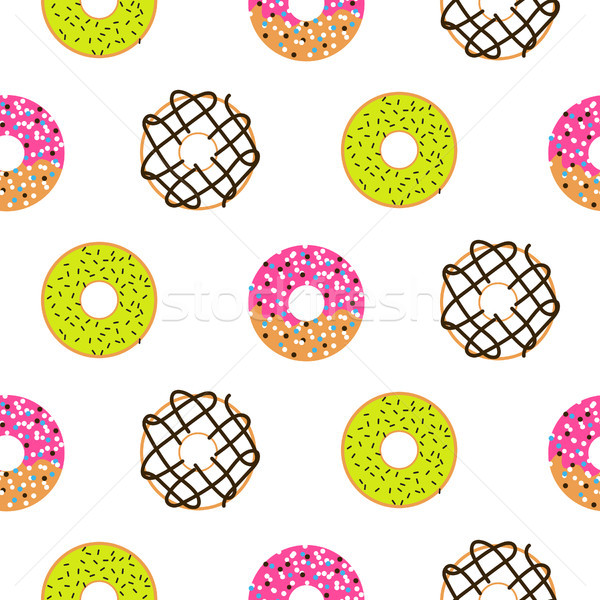 Donuts sugar glazed seamless vector pattern. Stock photo © yopixart