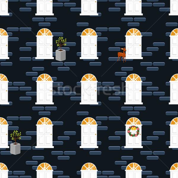 ドア シームレス ベクトル パターン 青 レンガの壁 ストックフォト © yopixart