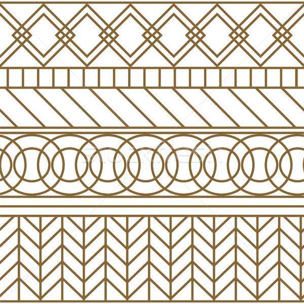 Gold and white geometric line seamless vector pattern. Stock photo © yopixart
