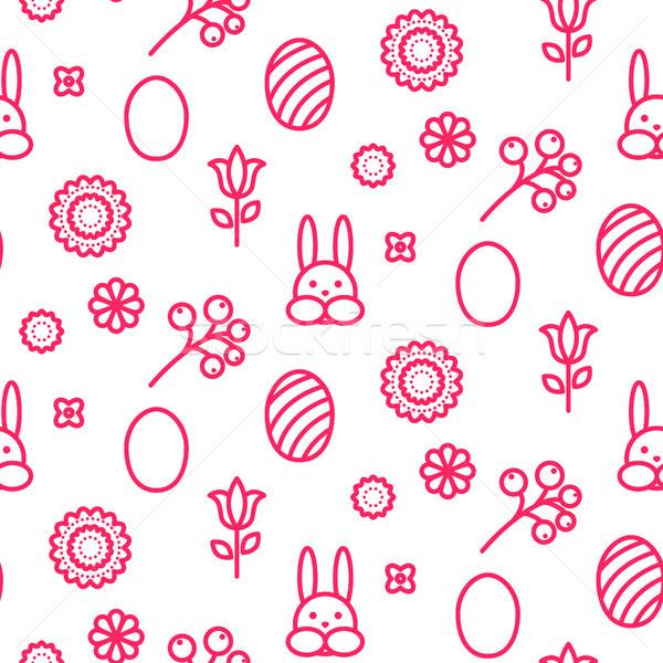 Húsvét skicc ikon végtelenített vektor minta Stock fotó © yopixart