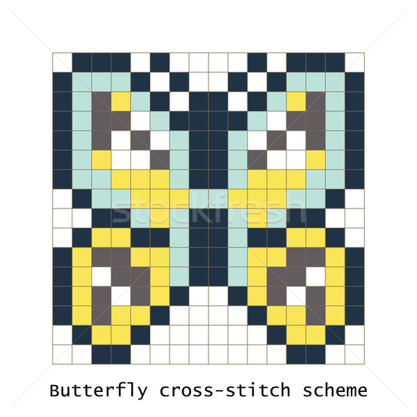 Cross-stitch pixel art butterfly vector set. Stock photo © yopixart