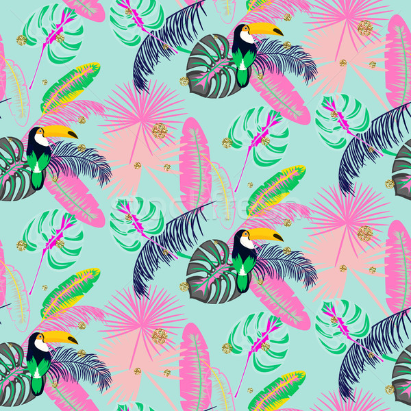 Monstera tropic plant leaves and toucan bird seamless pattern. Stock photo © yopixart