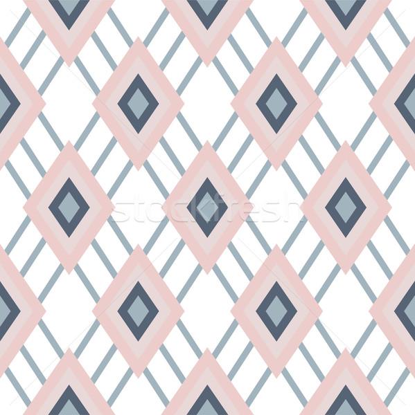 Rhombus geometric pastel pink seamless pattern. Stock photo © yopixart