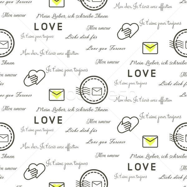 Amor cartas sem costura vetor padrão branco Foto stock © yopixart