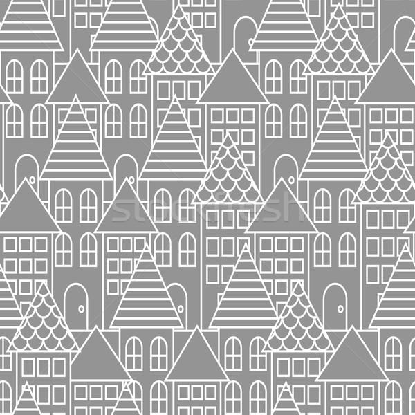 Stockfoto: Grijs · witte · lijn · stad · naadloos