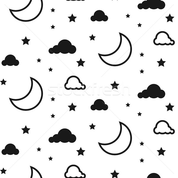 Moon and clouds seamless vector pattern. Stock photo © yopixart
