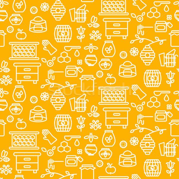 Honey outline icon seamless vector yellow pattern. Stock photo © yopixart