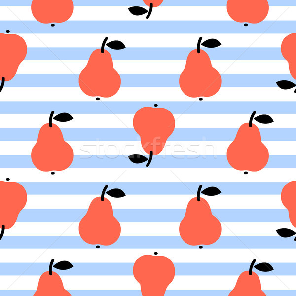 Red pear seamless blue striped pattern on white. Stock photo © yopixart