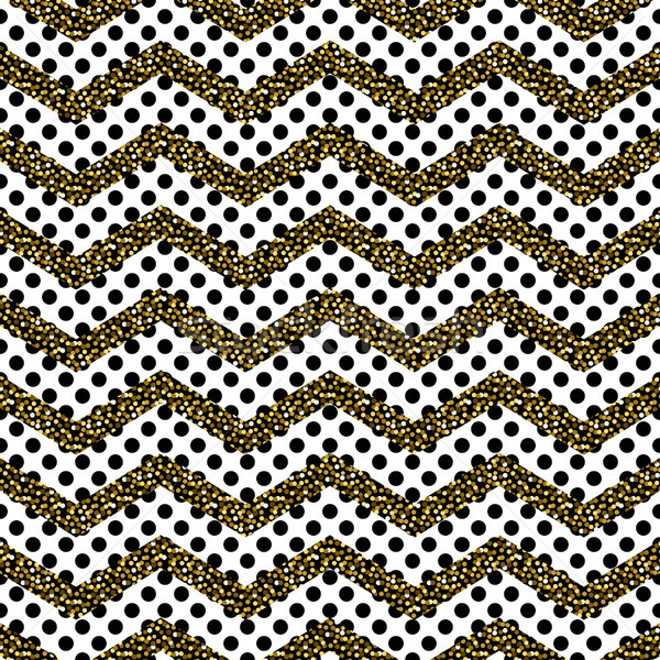 Zigzag angle wave lines with gold glitter seamless vector pattern. Stock photo © yopixart
