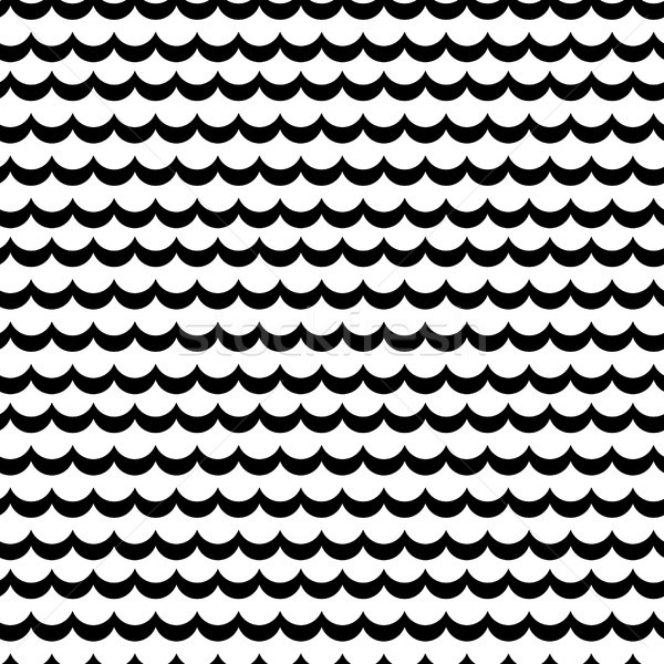 Abstract sea wave frill black and white vector pattern. Stock photo © yopixart