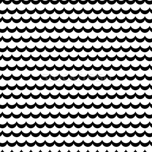 Abstrato mar onda preto e branco vetor padrão Foto stock © yopixart