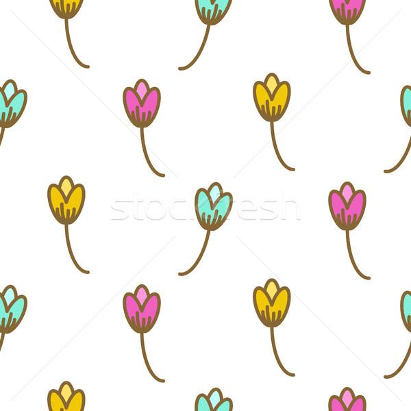 Tulip flowers pink floral art pattern seamless vector. Stock photo © yopixart