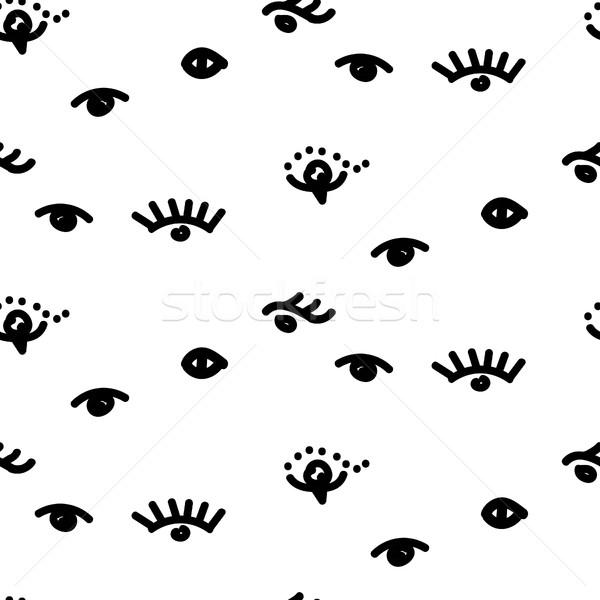 Olhos vetor diversão rabisco Foto stock © yopixart
