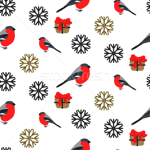 Bullfinch and snowflakes seamless pattern. Vector background Stock photo © yopixart