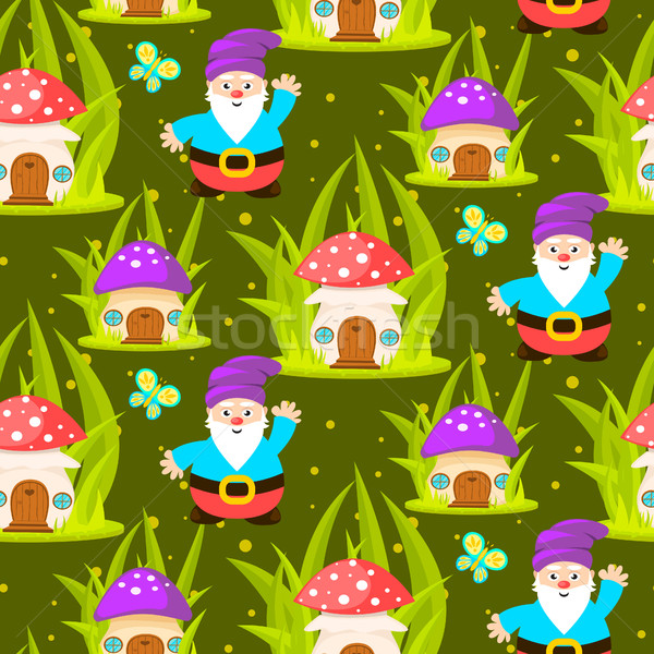 Forestales setas casa Cartoon verde Foto stock © yopixart