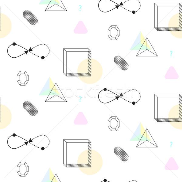 Infinity shape and cubes nineties seamless vector pattern. Stock photo © yopixart