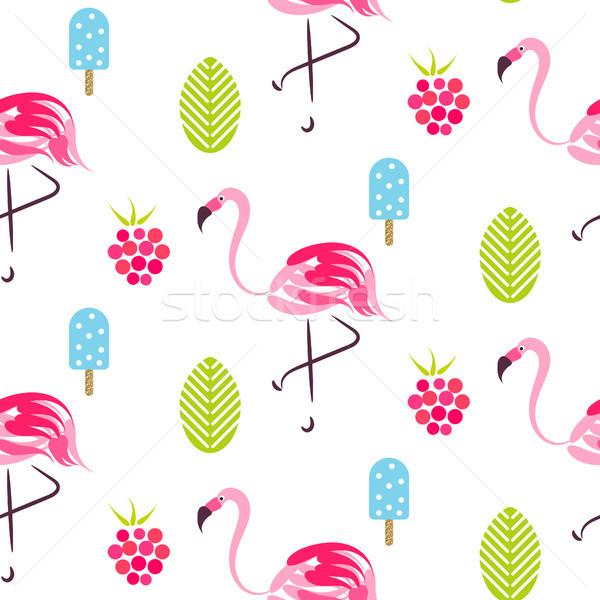 Nyár minta flamingó fagylalt málna rózsaszín Stock fotó © yopixart