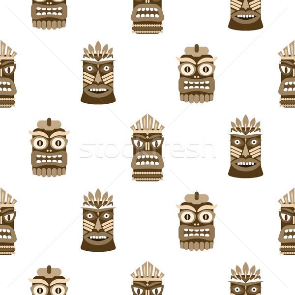 Wooden tiki mask seamless pattern vector. Stock photo © yopixart