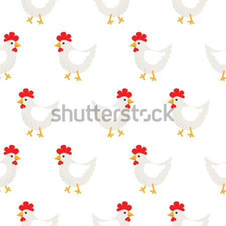 Blanco gallina rural sin costura vector patrón Foto stock © yopixart
