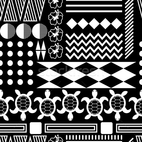 Black and white hawaiian culture ornament seamless vector pattern. Stock photo © yopixart