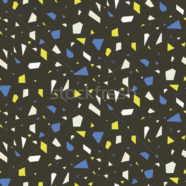 Terrazzo flooring dark seamless vector pattern. Stock photo © yopixart