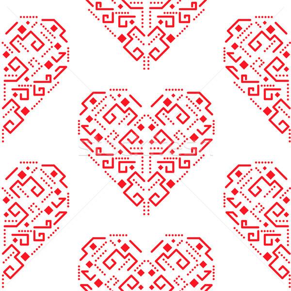 Navajo red heart shape ornament seamless vector pattern. Stock photo © yopixart