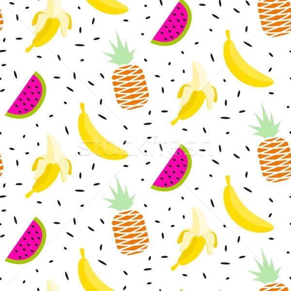 Frutta estiva pattern banane anguria senza soluzione di continuità vettore Foto d'archivio © yopixart