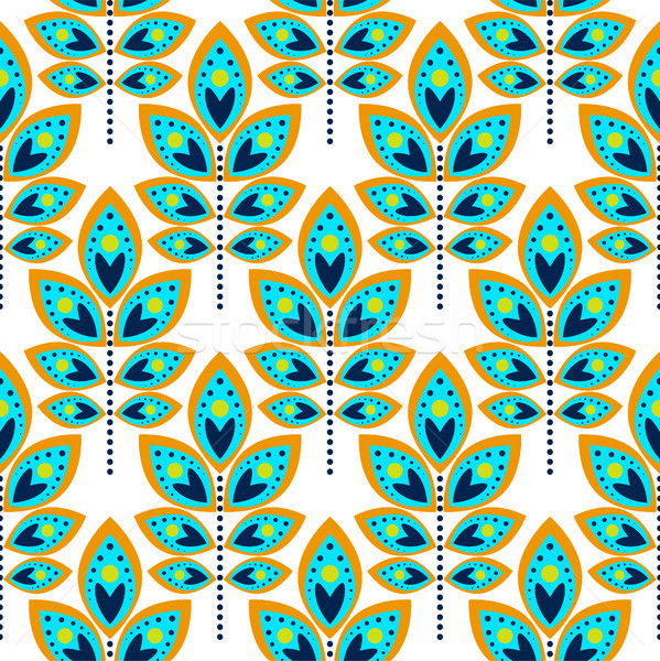 Stylized leaf cyan blue seamless pattern. Stock photo © yopixart