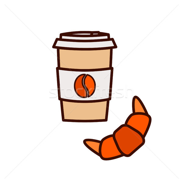 Coffee to go and croissant vector icon illustration. Stock photo © yopixart