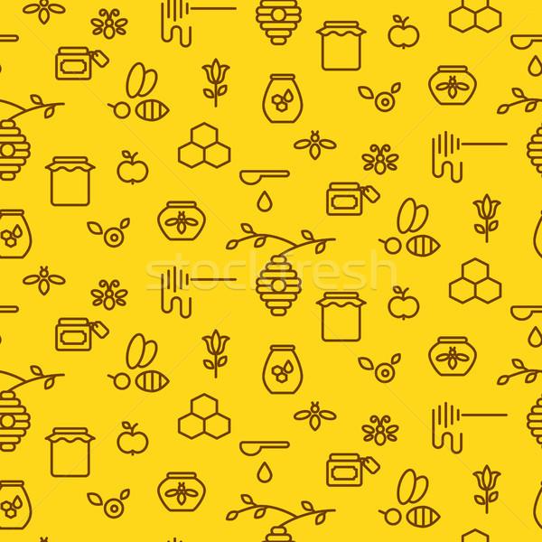 Stock fotó: Méz · skicc · citromsárga · ikon · végtelenített · vektor