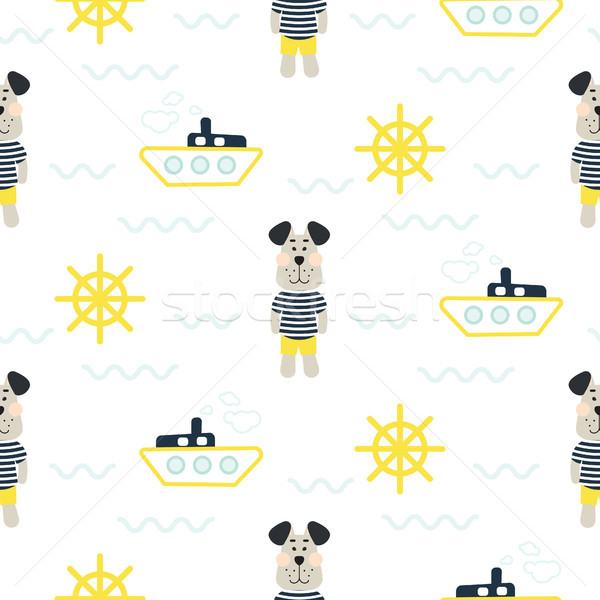 Pajamas boy pattern with tilda sailor dog seamless vector. Stock photo © yopixart