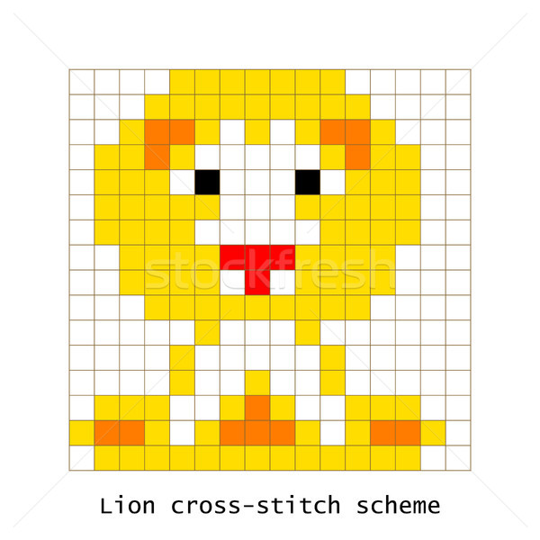Cross-stitch pixel art lion animal vector set. Stock photo © yopixart