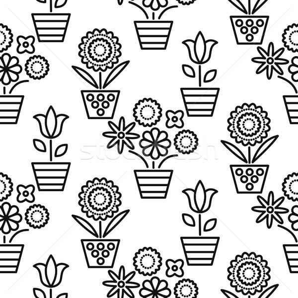 Blanc noir ligne fleur vecteur floral Photo stock © yopixart