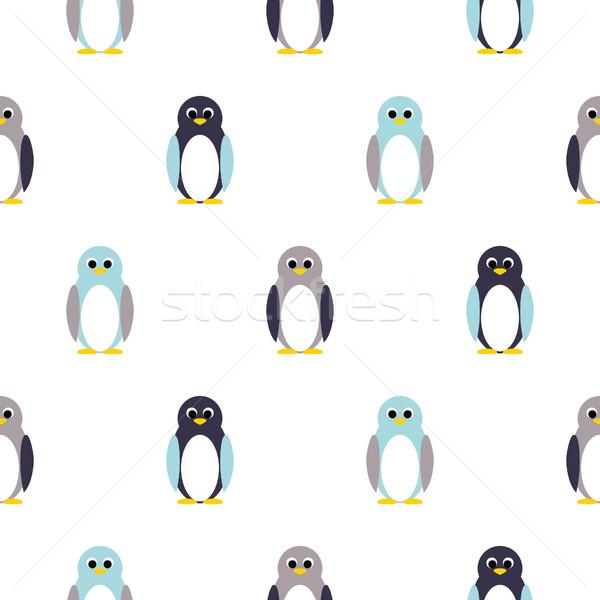 Penguin blue, purple on white kid pattern. Stock photo © yopixart
