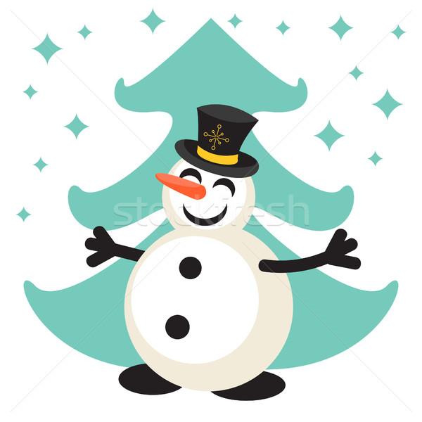 Happy snowman cartoon vector icon Stock photo © yopixart